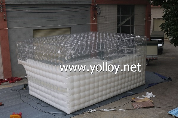 Inflatable half clear transparency cube tent