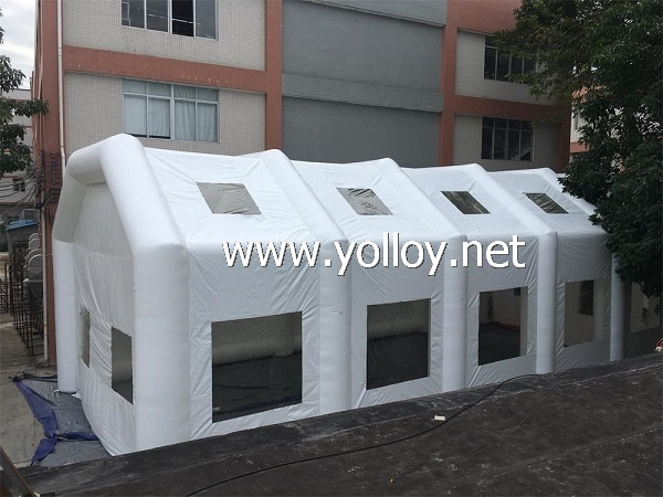 Inflatable portable hangar for MCI bus trailers tent