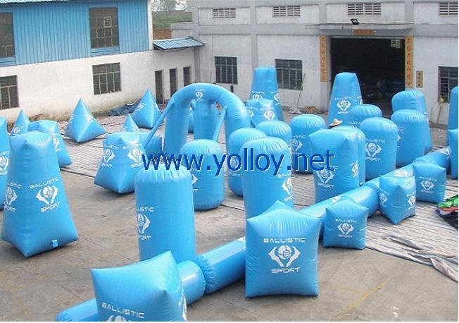 light blue inflatable paintball arena