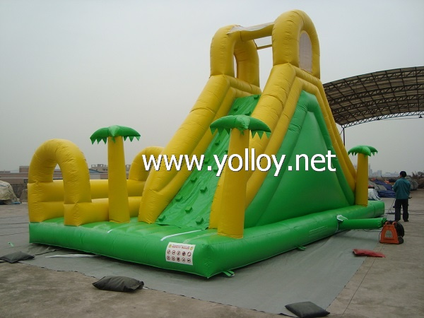 Tropical style inflatable bounce slide Toy with water pool