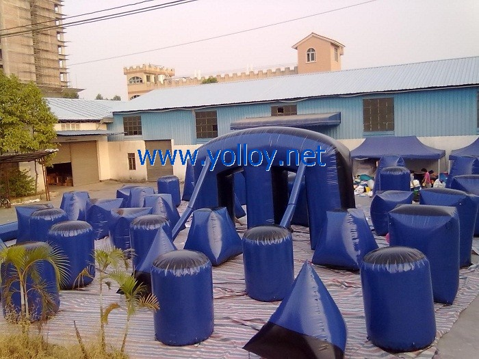 dark blue inflatable paintball arena