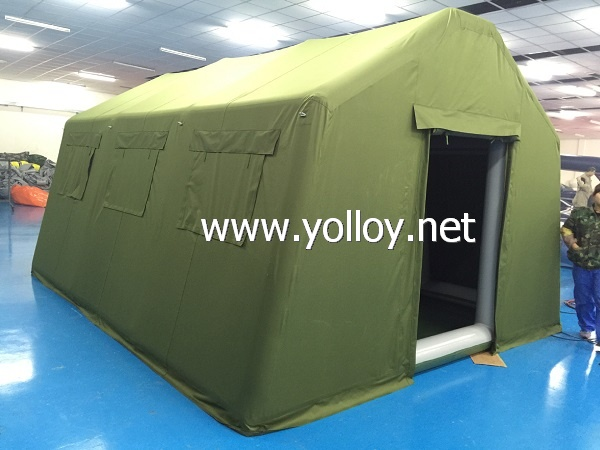 Temporary inflatable army military tent
