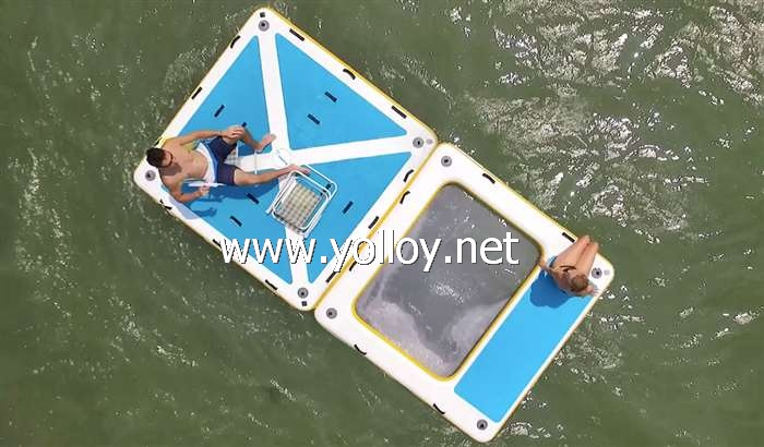 Floating swim pool with inflatable deck