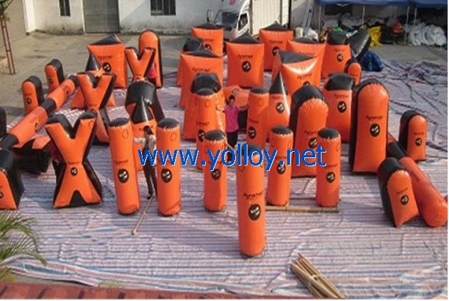 47 orange and black inflatable bunkers field
