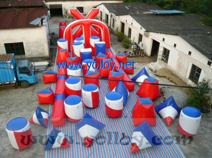 inflatable paintball arena with 45 air bunkers
