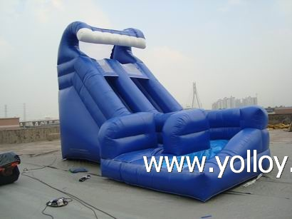 Blue big U turn inflatable water slide