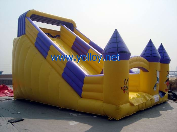 yellow Disney world inflatable castle slide