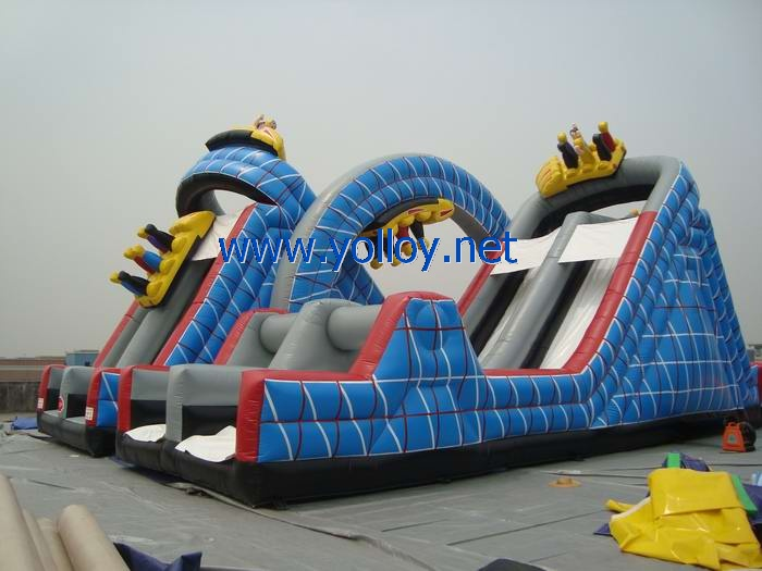 roller coaster Wild one inflatable slide with obstacles