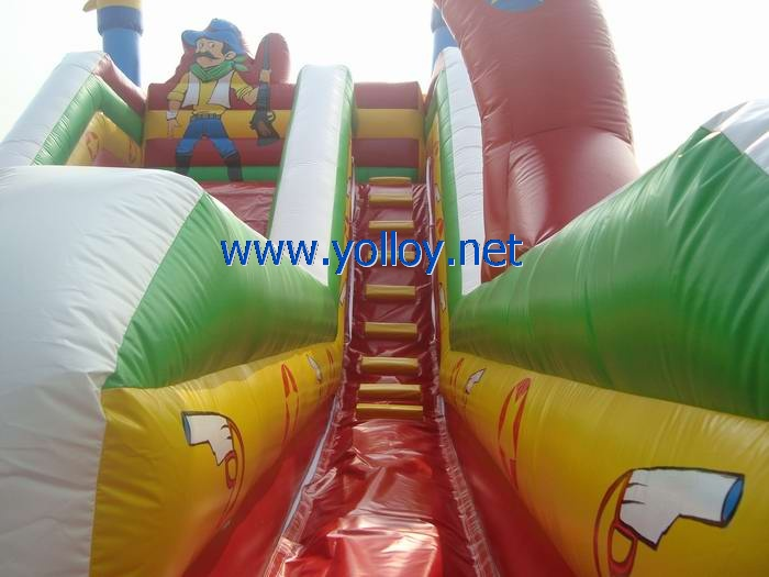 Cowboy western adventure commercial inflatable slide
