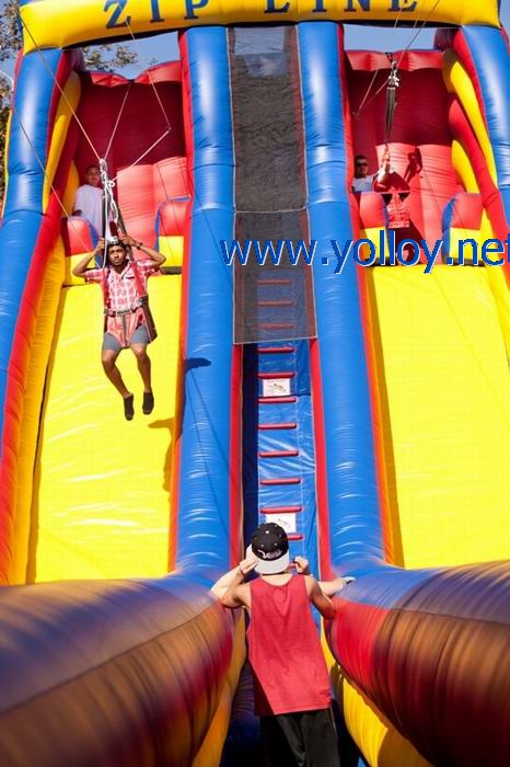 Yellow red and blue classic mobile zip line inflatable