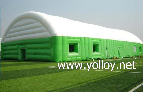 Inflatable sports tent as instant portable outdoor event