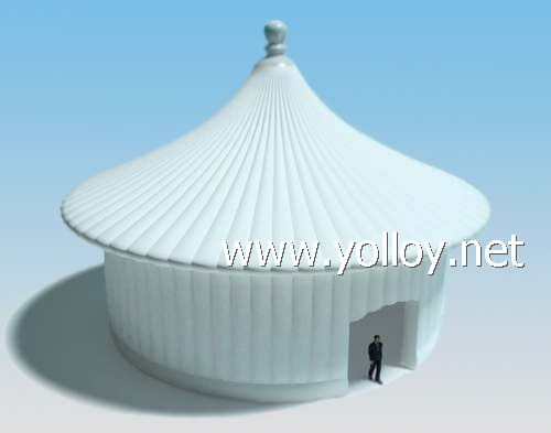 White inflatable pagoda tent for party event
