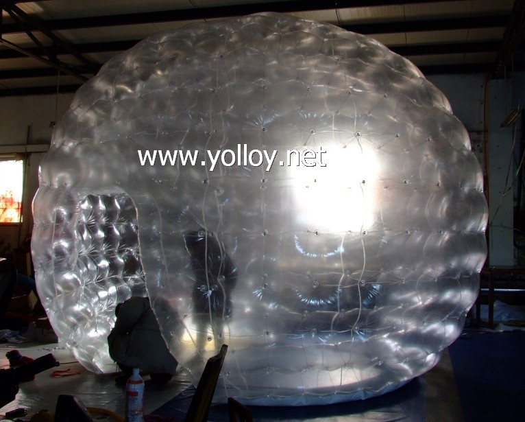 Double layer airtight clear inflatable garden tent