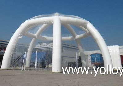 Clear Roof Inflatable Igloo Tent With Tunnel Entry