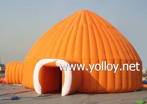 Camping in igloo dome shape for cold weather