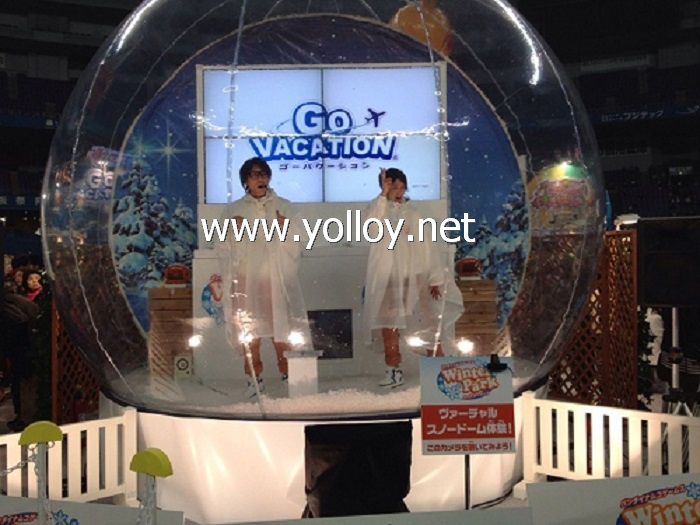 transparent life size inflatable snow dome for holiday