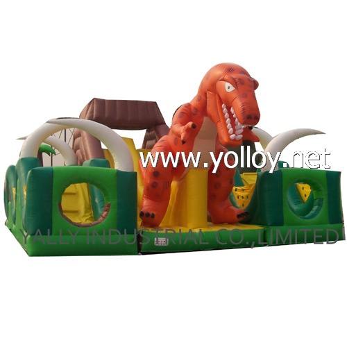Dinosaur park inflatable obstacle bouncy castle