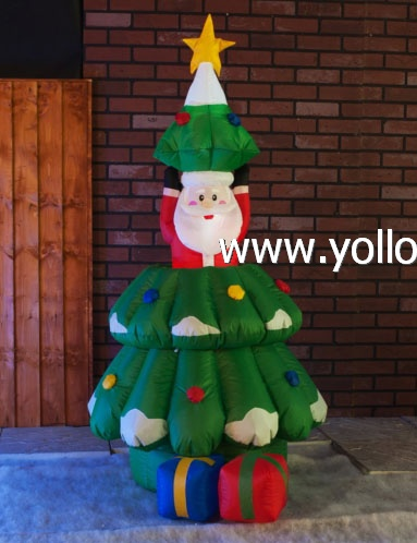 Family blow up inflatable Xmas tree with Santa