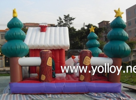 Santa Claus house with snowman Christmas tree