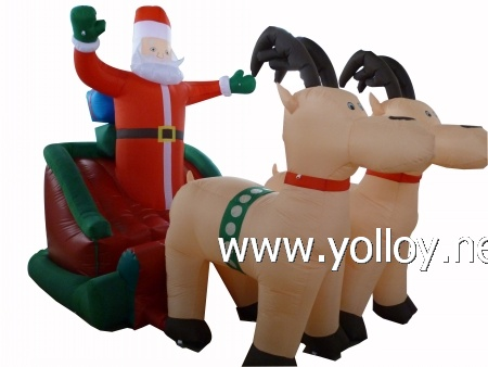 Santa Claussleigh and reindeer Great outdoor decoration