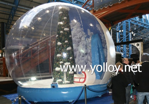 transparent life size snow dome with inflatable base