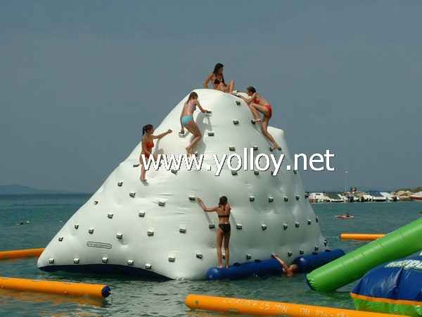 Inflatable iceberg floating on water climbing game