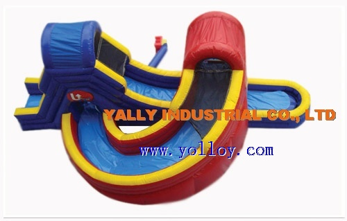 huge double inflatable Water slide with a twist