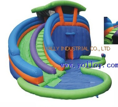 inflatable slide with water pool for summer holiday