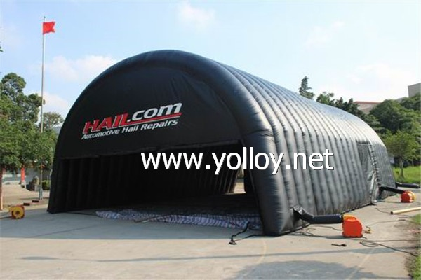 Mobile inflatable garage tent