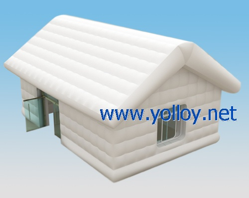 white inflatable log cabin house with door and window for party event