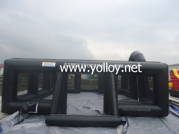Outdoor Black Inflatable Football Pitch Arena Court For Sale