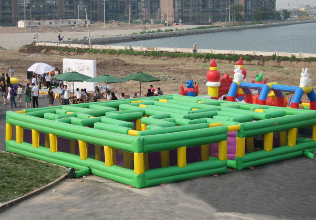 large green inflatable maze game