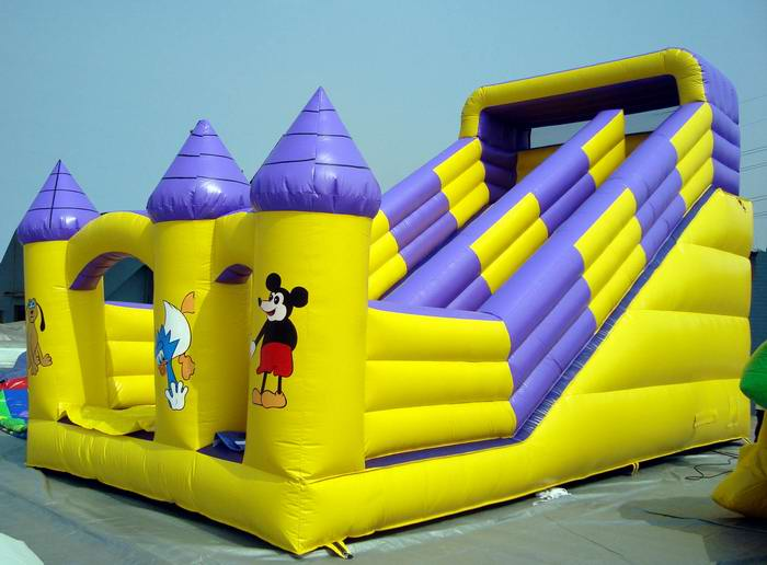 mickey inflatable slide yellow
