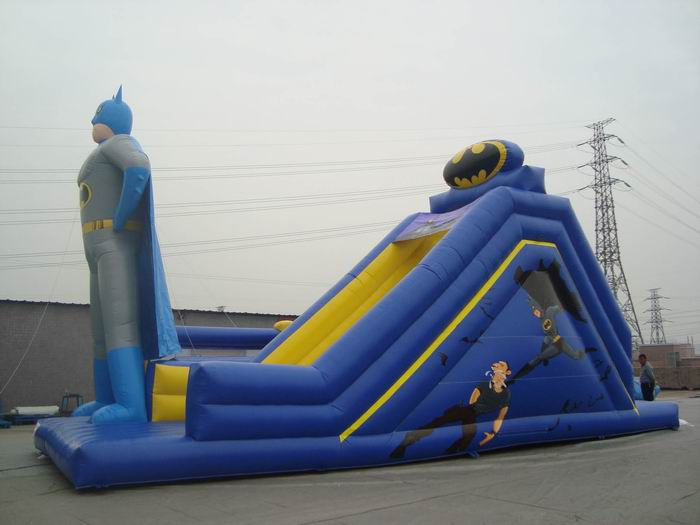bat men inflatable slide with obstacle
