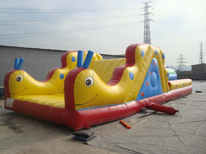 worm inflatable slide with obstacle