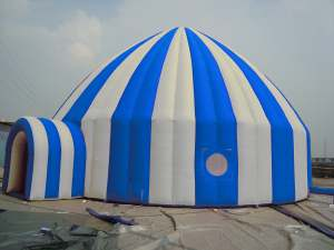 blue and white igloo tent