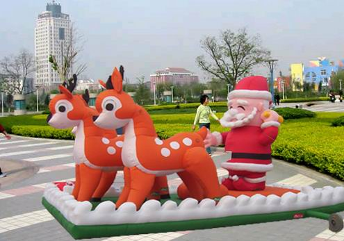 inflatable santa with sleigh