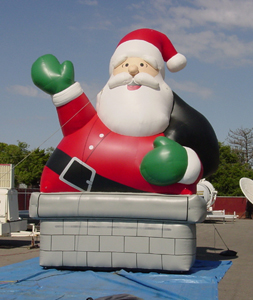 Inflatable santa in chimney