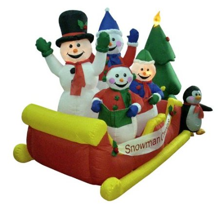 Inflatable sleigh with snowman