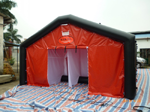 Red and black decontamination tent