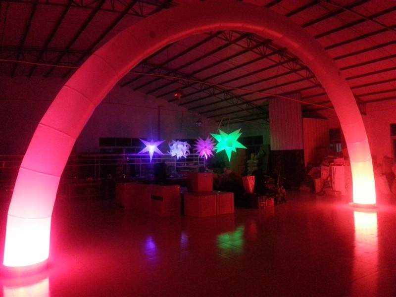 Red inflatable lighting arch