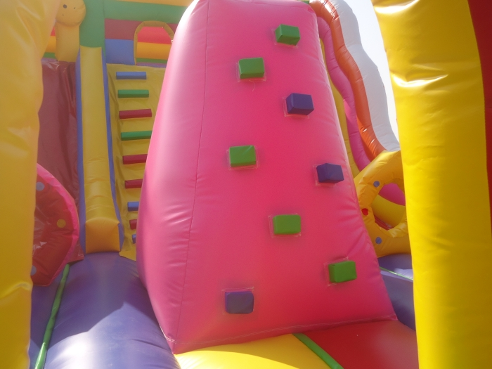 inflatable climb inside the angry bird slide