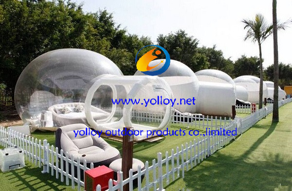 Pump for air frame inside tunnel?which once inflating the air can be hold inside for many days.And the bubble need blower work all the time. & Yolloy half transparent inflatable dome tent for sight-seeing for sale