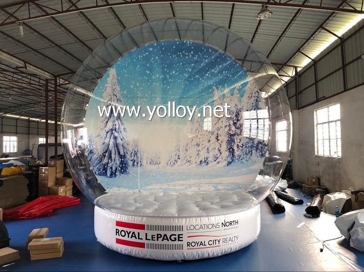 Globe de neige gonflable avec photo de Noël