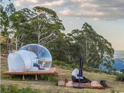 Tienda de burbujas inflable transparente