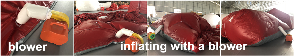 inflating with a blower