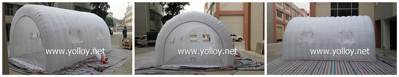 white inflatable car storage tent