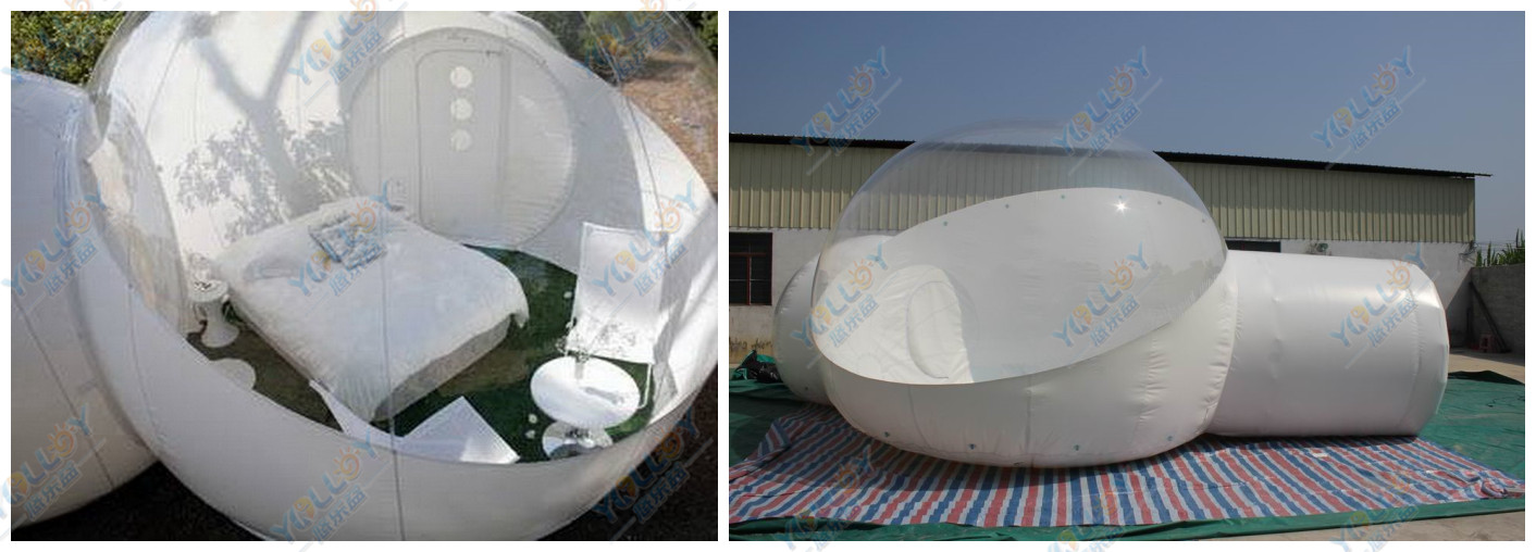Inflatable tent transparent with tunnel