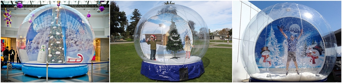 transparent inflatable snow globe