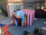 Inflatable tent with crazy clown head for Halloween